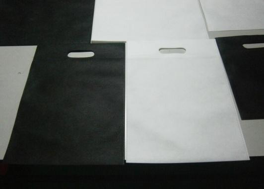 bolsas de tela impresas de asa troquelada blancas