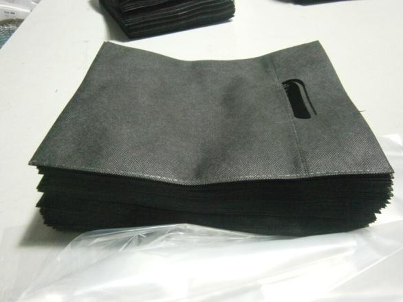 bolsas de tela impresas de asa troquelada negras