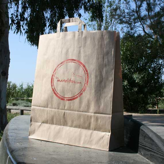 bolsa de papel + asa plana interior
