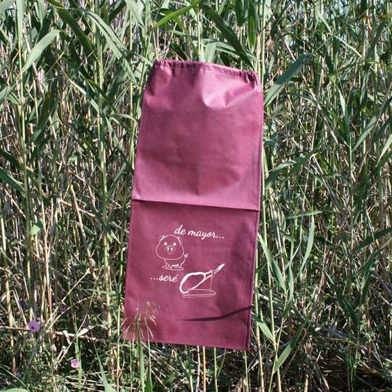 bolsa de tela + jamonero granate