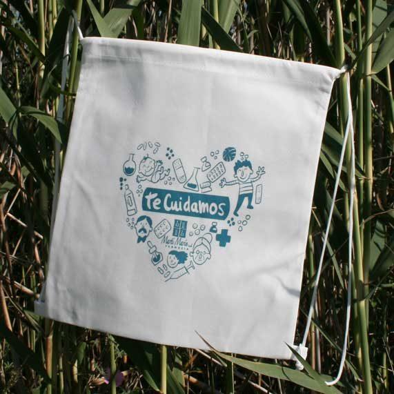 bolsa de tela +mochila saco blanca