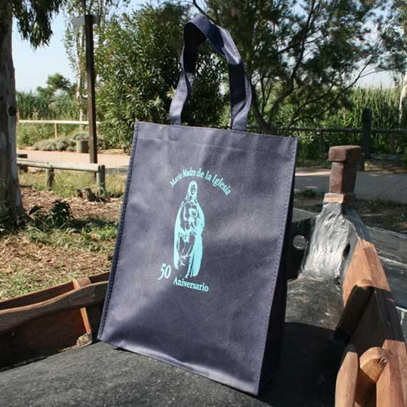 bolsa de tela + plegable azul