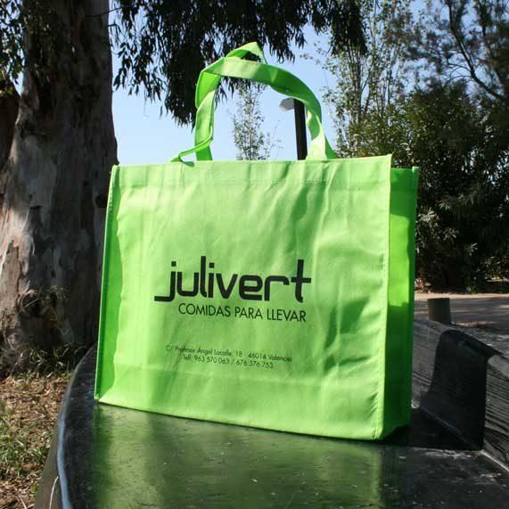 bolsa de tela tst + lazo verde
