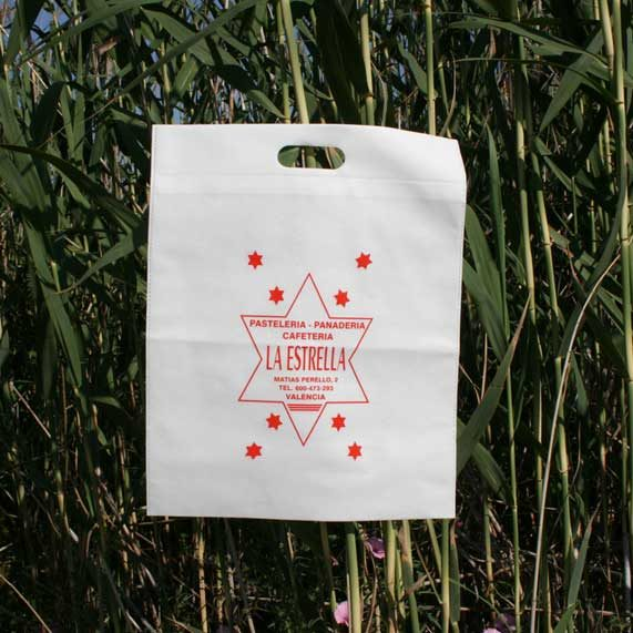 bolsa de tela + troquelada blanca