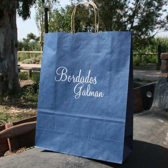 bolsa de papel + reciclado mediana azul