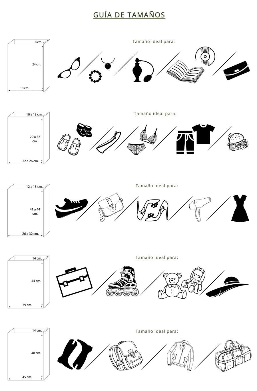 Guía de Tamaños Bolsas de Papel